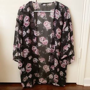 H&M Black And Pink Floral Kimono